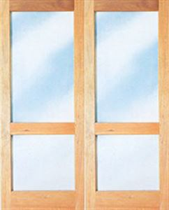 Picture of Pair 1613 Full Pane French Doors with Safety Rail