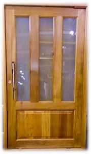 Picture of Vertical Slatted Glass Pivot Door Pre-Hung in frame 1200 X 2032