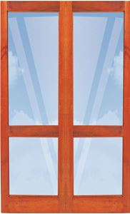 Picture of Pair 1210 Full Pane French Doors with Safety Rail