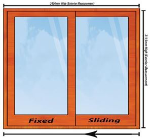 Picture of 2400mm Wide Full Pane Slider LHF