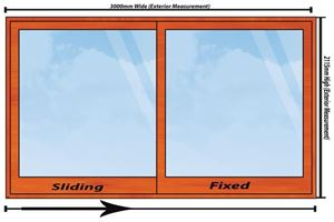 Picture of 3000mm Wide Full Pane Slider RHF