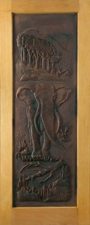 Picture of Elephant Carved Door 813 X 2032