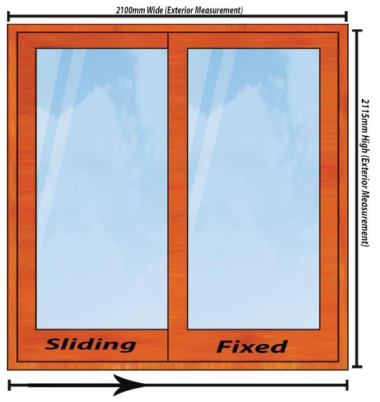 Picture of 2100mm Wide Full Pane Slider RHF