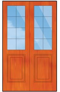 Picture of Pair of Small Pane top solid bottom doors 1210W x 2032H
