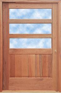 Picture of Horizontal Slatted Glass Pivot Door 1200 X 2032