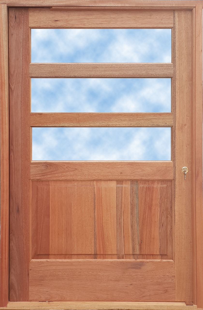 Picture of Horizontal Slatted Glass Pivot Door Pre-Hung in frame 1200 X 2032