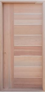 Picture of Semi Solid Horizontal Slatted AL Pivot Door Pre-Hung in Frame 1200 X 2032
