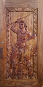 Picture of Zulu Warrior Carved Pivot
